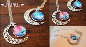 Blue/Red Galaxy Stars Pastel Moon Long Chain Necklace SP141541 - SpreePicky  - 3