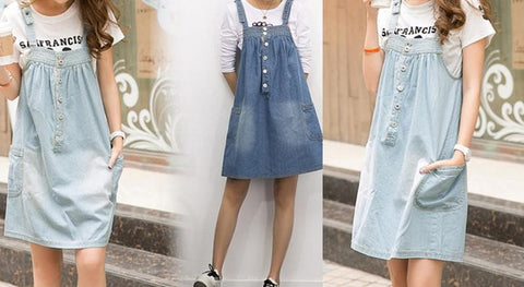 S-4XL Blue Denim Sweet Girl Suspender Dress SP153321 - SpreePicky  - 2