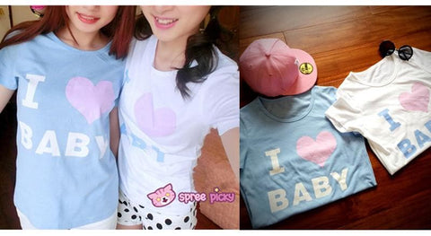 Blue/White I Love Baby T-shirt Top SP153295 - SpreePicky  - 2