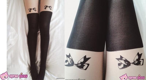 [3 for 2] Little Bow Fake Over Knee Thigh High Tights SP140915 - SpreePicky  - 2