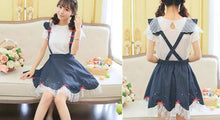 Load image into Gallery viewer, Navy Cute Bowknot Suspender Denim Skirt SP152920 - SpreePicky  - 3