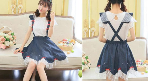 Navy Cute Bowknot Suspender Denim Skirt SP152920 - SpreePicky  - 3