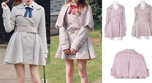 [Reservation] S/M/L Pink/Grey Retro England Style Cape Coat SP153644 - SpreePicky  - 2
