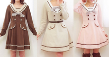 Load image into Gallery viewer, S-XL Pink/Khaki/Brown Sweet Seifuku Long Sleeve Dress SP165597