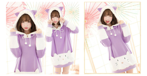 "S/M/L [The ""Hentai"" Prince and the Stony Cat] Tsukiko Cat Ear Fleece Hoodie Jumper SP154329 - SpreePicky  - 2"