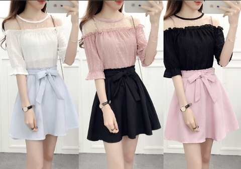 Sweet Chiffon Blouse + Skirt Two Pieces