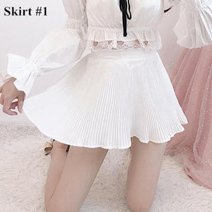 Fairy Off-Shoulder Lace Shirt/Pleated Skirt SP14341