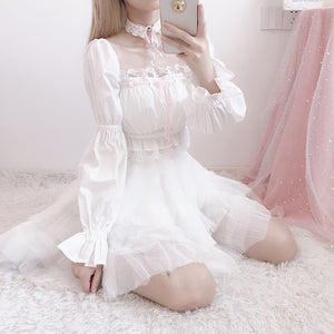 Fairy Off-Shoulder Lace Shirt/Pleated Skirt SP14341 - SpreePicky FreeShipping