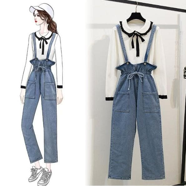 Falbala Bow Sweater/Suspender Jeans Set SP14231
