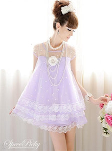 M-XL Fantasy Girly Stars Lace Joint Cake Dress SP130329 - SpreePicky  - 2