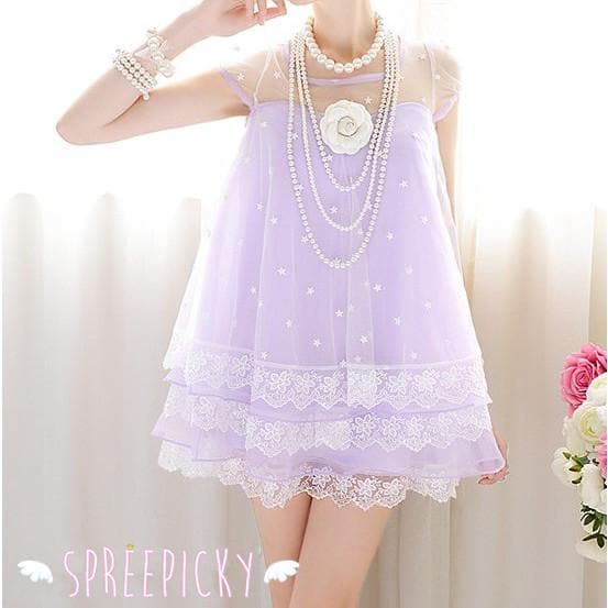 M-XL Fantasy Girly Stars Lace Joint Cake Dress SP130329 - SpreePicky  - 1