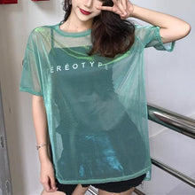 Load image into Gallery viewer, Sexy Transparent T-shirt+Short Sleeve Two Piece Set SP15027