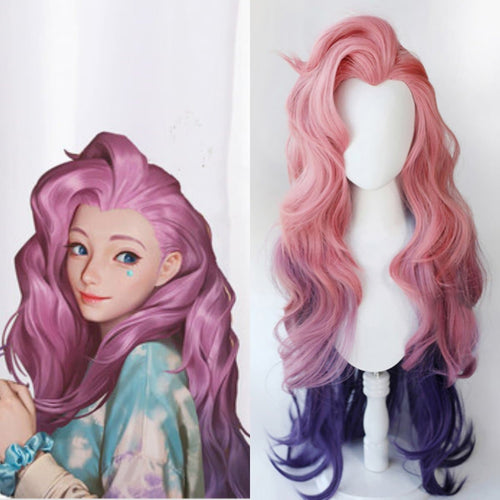 LoL Seraphine Cosplay Loose Wave Pink Mixed Purple Wig SP15196