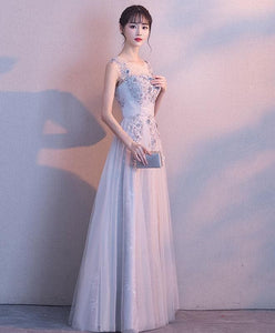 Gray Lace Tulle Long Prom Dress, Lace Evening Dress - DelaFur Wholesale