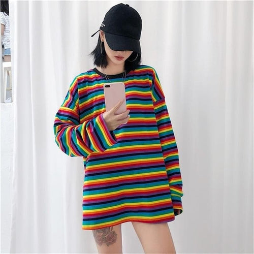Rainbow Punk Style Summer Causal Cotton Tee Shirt SP14689