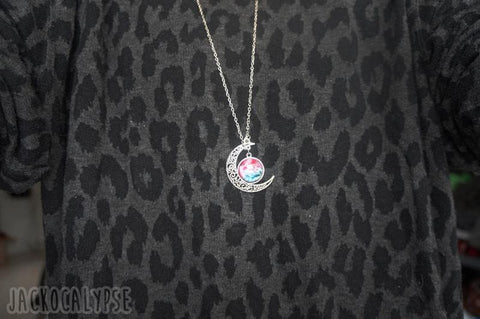 Blue/Red Galaxy Stars Pastel Moon Long Chain Necklace SP141541 - SpreePicky  - 6