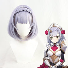 Load image into Gallery viewer, Genshin Impact Noelle Purple Short Braid Cosplay Wig SP15262