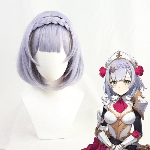 Genshin Impact Noelle Purple Short Braid Cosplay Wig SP15262