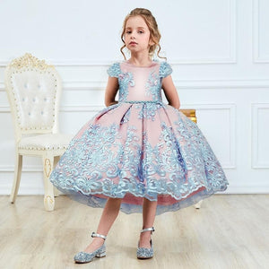 Girls Princess Kids Dresses for Girls Tutu Lace Flower Embroidered Ball Gown Baby Girls Clothes Children Wedding Party Dress - SpreePicky FreeShipping