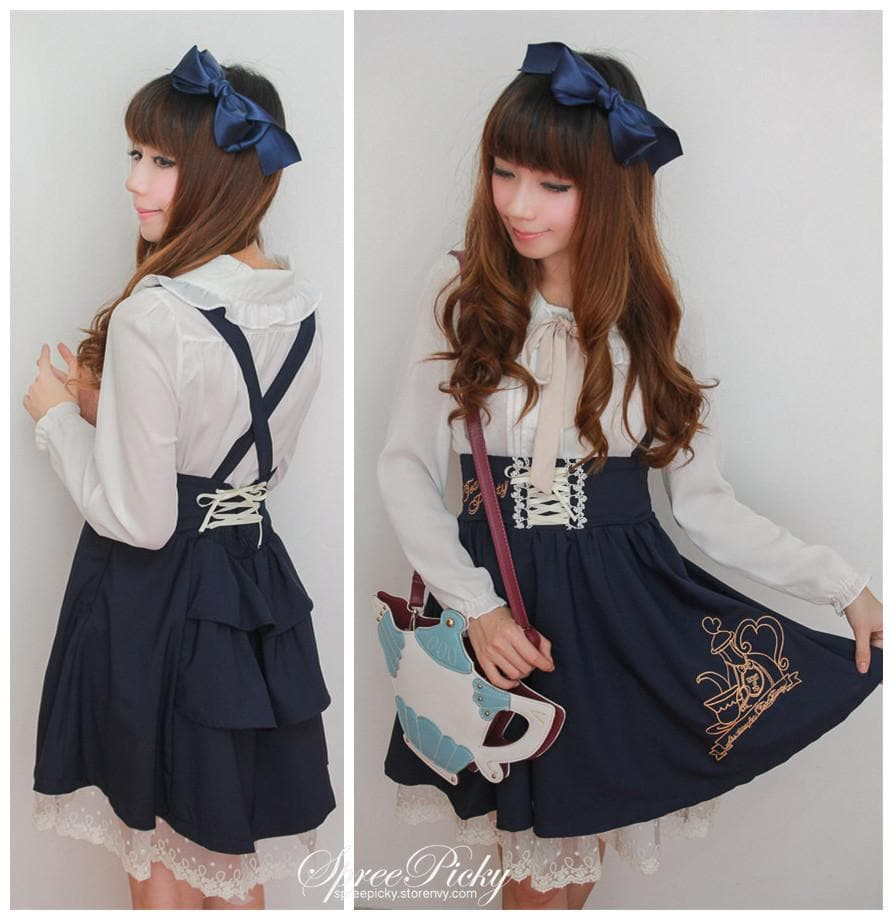 Girly Tea Party Embroidery High Waist Strap School Uniform Dress SP130171 - SpreePicky  - 1
