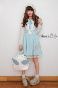Girly Tea Party Embroidery High Waist Strap School Uniform Dress SP130171 - SpreePicky  - 3