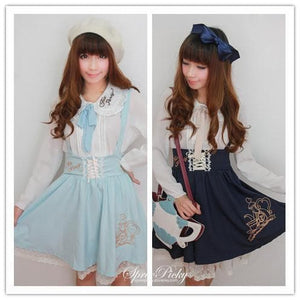 Girly Tea Party Embroidery High Waist Strap School Uniform Dress SP130171 - SpreePicky  - 4
