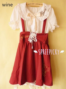 Girly Tea Party Embroidery High Waist Strap School Uniform Dress SP130171 - SpreePicky  - 5