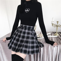 Gothic Grunge Heart Thorns Long Sleeve Top&Plaid Pleated Skirt S13090
