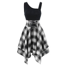 Load image into Gallery viewer, Gothic Lace Up Waist Plaid Irregular Dress SP13721