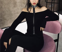 Load image into Gallery viewer, Gothic Off-Shoulder Zipper Shirt SP13580