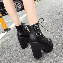 Load image into Gallery viewer, Gothic Punk Double Buckle Lace Up Platform Boots SP14235