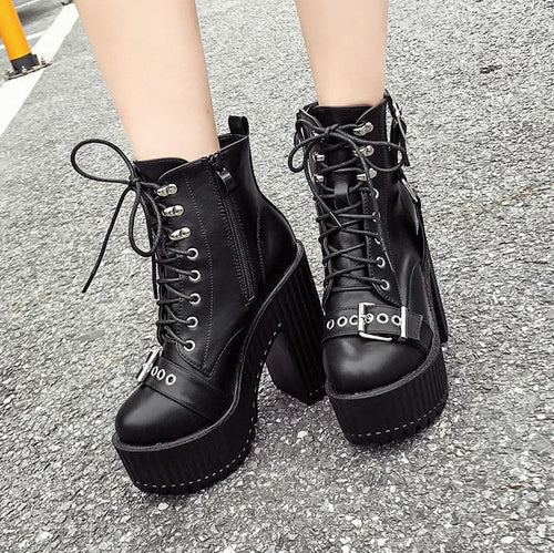 Gothic Punk Double Buckle Lace Up Platform Boots SP14235