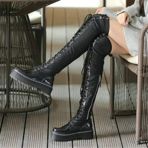 Gothic Punk Over The Knee Thigh High Lace Up Boots S13122