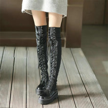 Load image into Gallery viewer, Gothic Punk Over The Knee Thigh High Lace Up Boots S13122