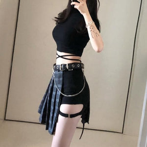 Gothic Retro Pleated Skirt/Shorts/Waistband/Top S12750