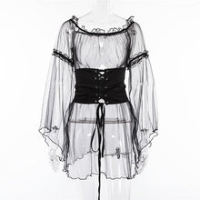 Load image into Gallery viewer, Gothic Sheer Flare Sleeve Lace Up Waist Dress Top SP13345