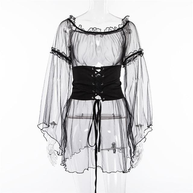 Gothic Sheer Flare Sleeve Lace Up Waist Dress Top SP13345