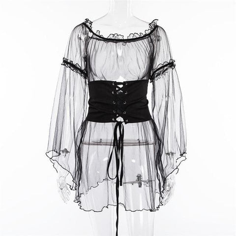 6de53a516dcbe4 Gothic Sheer Flare Sleeve Lace Up Waist Dress Top SP13345