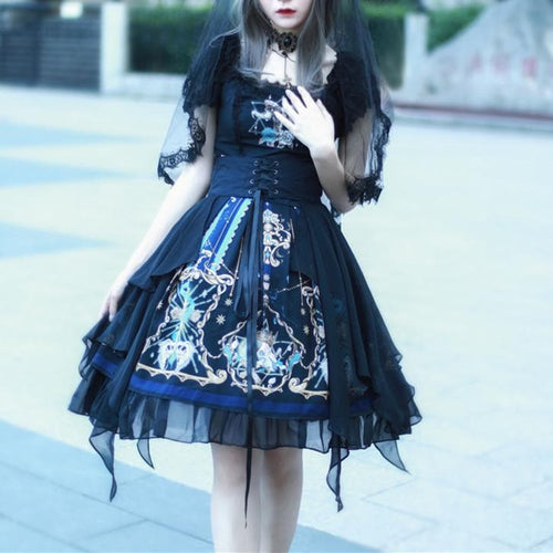 Gothic Vintage Cross God Lace OP/JSK Dress SP14305