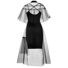 Load image into Gallery viewer, Black Gothic Vintage Elegant Mesh Cape Dress S13087