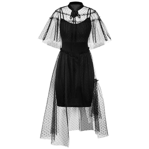 Black Gothic Vintage Elegant Mesh Cape Dress S13087