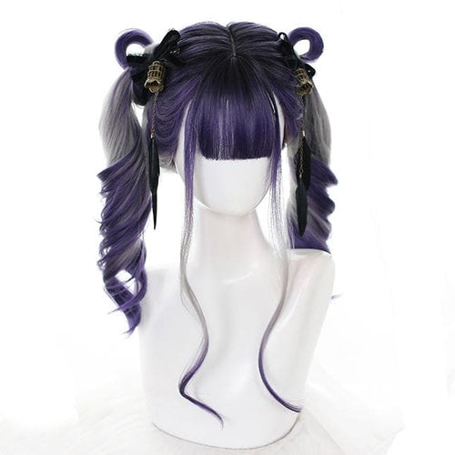 Gradient Purple Grey Wave Long Wig SP14945