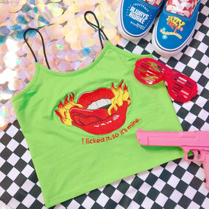 Green Gothic Hot Lip Crop Top SP14000