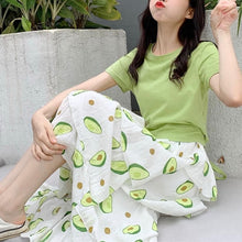 Load image into Gallery viewer, Green Kawaii Avocado Maxi Skirt/Laced T-Shirt SP13968