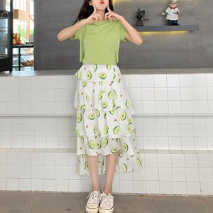 Green Kawaii Avocado Maxi Skirt/Laced T-Shirt SP13968