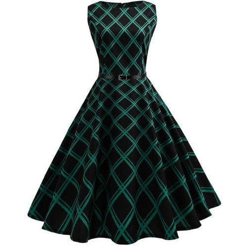 Green Plaid Swing Dress SP13955