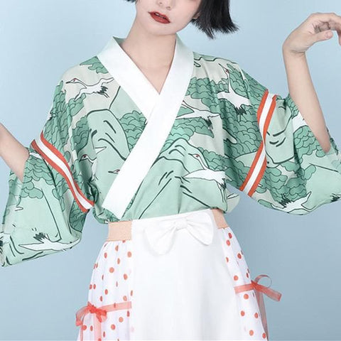 Green Red-Crowned Crane Laced Kimono Coat SP13700