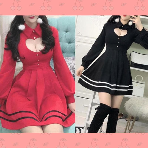 FreeShip Black/Red Sweet Lolita Heart Hollow Out Dress SP1811600
