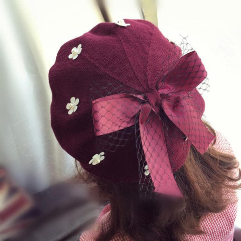 Grey/Black/Wine Red Floral Bow Beret Hat SP1710914