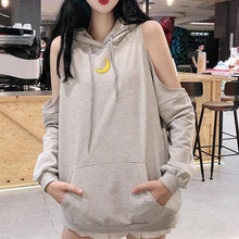 Load image into Gallery viewer, Grey/Black Loose Moon Off-Shoulder Hoodie Jumper SP14186